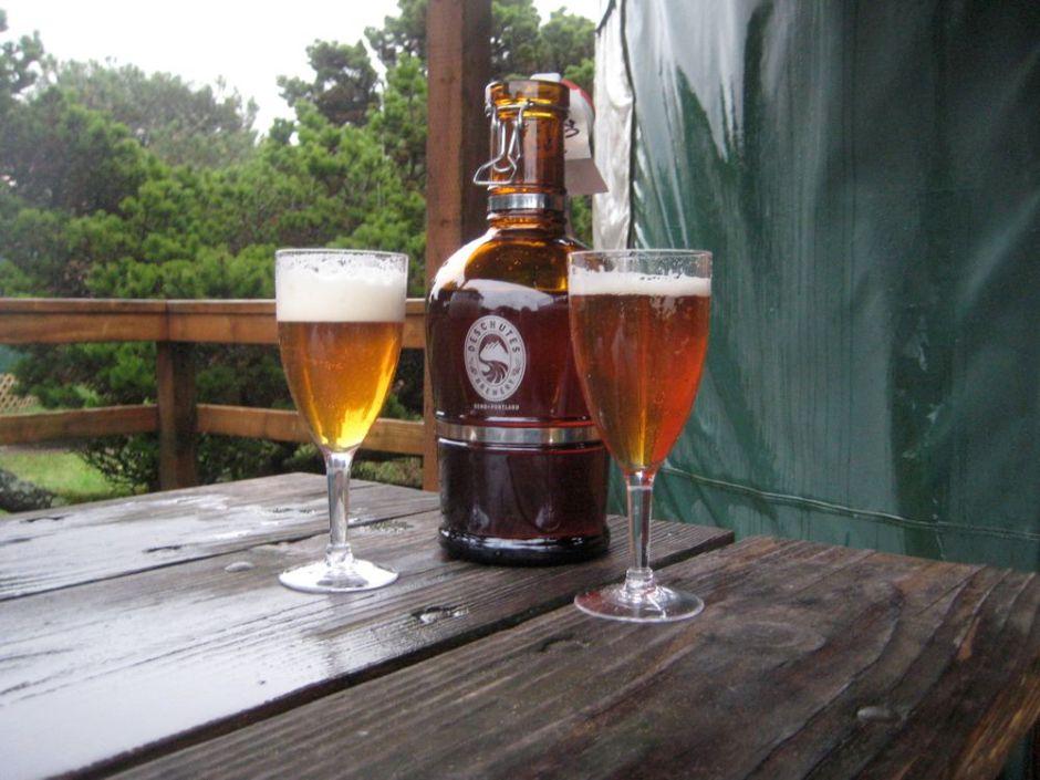 A growler of Deschutes Cascade Ale